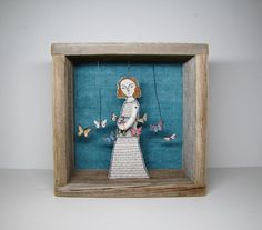 Love these mixed-media embroidered dioramas by Cindy Steiler via etsy #art #embroidery #vintage