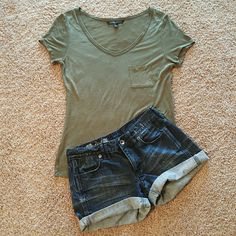 Madewell Cutoff Cuffed  Shorts These shorts are excited for warmer weather. These can be unrolled for a longer, frayed look as well.   Shirt is also for sale. ?? Madewell Shorts Jean Shorts