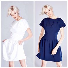 White and navy blue dress tucked from the winter collection THECADESS  http://thecadess.com