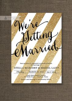 Gold Glitter & Black Wedding Invitation Gold Stripes with Glitter Modern Script Sparkle Gatsby Printable Digital or Printed- Stella Style