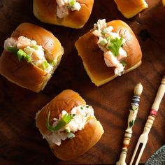A simple shrimp         salad is served in small dinner         rolls in this fun (and easy) twist         on the traditional New England         lobster roll.