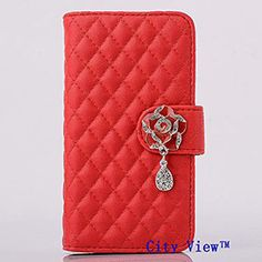 iPhone 6 Case Wallet Case Luxury Crystal Camellias Button