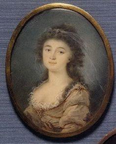 Lady in low cut fawn dress by WINCENTY DE LESSEUR LESSEROWICZ