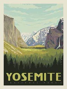 "National ParkYosemite PanelPanel Size: 36"" x 43 1/2"" 100% Cotton Vintage National Park Posters, Gros Morne, American National Parks, Poster Art, Digital Print, Park Art, Yosemite Valley, Parc National, Yellowstone National Park"