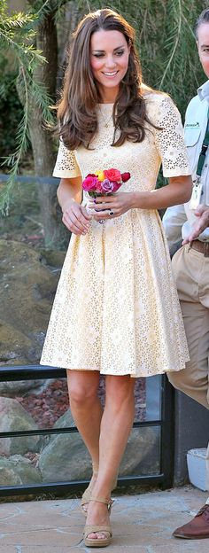 Hands On Mum from Kate Middleton's Mommy Style  Kate visited the Taronga Zoo in Sydney in another recycled look from two years prior, an ivory eyelet dress by an independent designer.