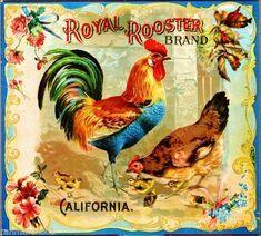 Riverside Royal Rooster Chickens Orange Citrus Fruit Crate Label Art Print #RoyalRooster