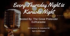Karaoke tonight! Come down and sing some of your favorite songs from our 1000 song list! Liquid courage available on site!! #karaoke #hoboken #hobokennojokin #jerseycity