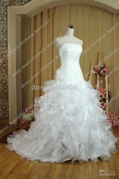 Wholesale DHgate Hot Sale NEW Sexy Strapless Organza Bridal Dresses Gown Wedding Gowns Wedding Dresses Lace-Up, Free shipping, $91.84~145.6/Piece   DHgate Mobile