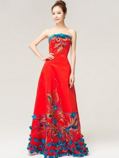 Red Bandeau Qipao / Chinese Wedding / Prom Dress by AnneF