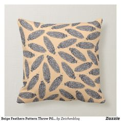 Beige Feathers Pattern Throw Pillow - a decorative black and white lineart pattern design on a beige throw pillow Feather Pattern, Poufs, Accent Pillows, Decorative Throw Pillows, Watercolor Art, Feathers, Pattern Design, Birds, Beige