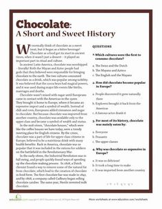 Hispanic Heritage Month Fourth Grade Comprehension World Studies Worksheets: The History of Chocolate