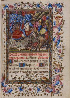 Libro de Horas de Alfonso el Magnánimo (1436-1443). BL Add MS 28962. Fol. 78 r. Alfonso al frente de sus fuerzas arremete contra un ejército sarraceno. -Detalle de la gualdrapa con el libro abierto- http://www.bl.uk/manuscripts/FullDisplay.aspx?ref=Add_MS_28962&index=0