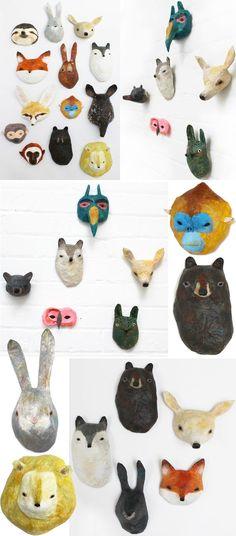 animal heads, school, folk art, paper mache art, paper mache animals, abigail brown, animal sculptures, woodland animals, paper sculptures