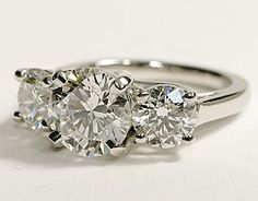 Three Stone Trellis Diamond Ring in Platinum