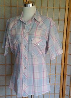 Vintage Wrangler SS Plaid Shirt Pearl Snaps Rockabilly Medium GUC 2350f911a