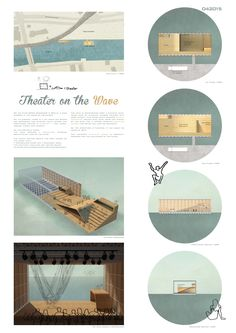 Image 5 of 7 from gallery of 6 Winners Selected for OISTAT Competition to Design a Floating Theatre in Germany. Theater on the Wave / Delphine Quach & Anouk Dandrieu. Image Courtesy of OISTAT Theatre Architecture, Water Architecture, Concept Architecture, Architecture Presentation Board, Presentation Layout, Presentation Boards, Architectural Presentation, Outdoor Cinema, Parametric Design