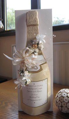 Cream and Gold Handmade 3D Champagne Bottle Wedding Card...comes in a bottle bag, novel idea!