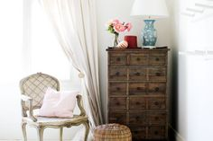 Pine Chest of Drawers & French Regency Armchair