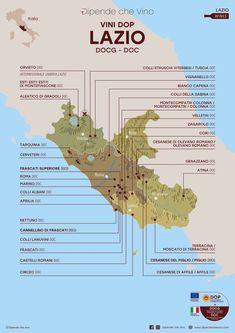 Tutti i vini DOP (DOCG e DOC) del Lazio, localizzati sulla carta regionale. Al link le informazioni sulle tipologie e sugli uvaggi.  Italian Wine Region Lazio. Rome Travel, Italy Travel, Wine Pics, Wine Photography, Italy Map, Italian Wine, Fine Wine, Wine Drinks, Wine Tasting