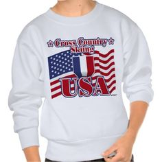 Cross Country Skiing USA Pullover Sweatshirt   •   This design is available on t-shirts, hats, mugs, buttons, key chains and much more   •   Please check out our others designs at: www.zazzle.com/ZuzusFunHouse*