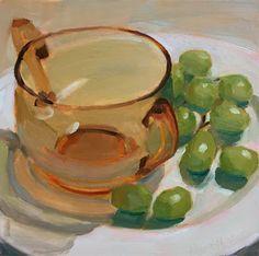 Robin Rosenthal Art: Amber Bowl and Grapes