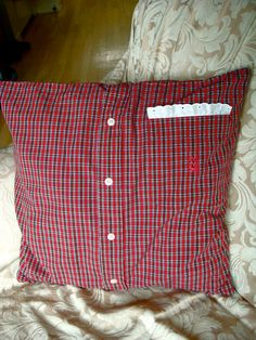 "$15 for upcycled pillow cover made from Men's Polo shirt. Cotton. Country Shabby Chic. Fits 16"" pillow insert, not included."