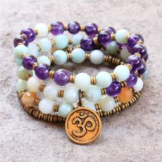 Confidence and Healing, Amazonite and Amethyst convertible 54 bead wra – Lovepray jewelry