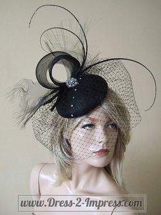 Black Quills and Crystals Veiled Fascinator by Dress2ImpressEtsy