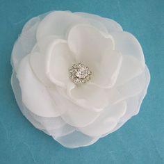 Small Diamond White  Rose Hair Clip  H241 bridal by HARTfeltart, $29.00