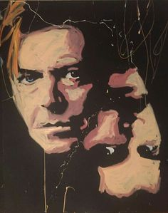 David Bowie and Freddie Mercury speed painted by Dave Santia. The idea though is that you have to watch him do it! Check out his FB page. Dave Santia's Art and Soul.