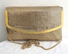 Reserved For Nina Vintage Gold Mesh Shoulder Clutch Across Body Bag Box Type Foldover Front Metallic Trim Handle