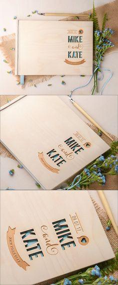 Modern Wedding Guestbook, Wood Guestbook, Wooden Wedding Guest Book, Custom Guestbook, Rustic Guestbook, Engraved Wedding Guestbook