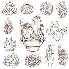 Succulent Doodle Plants royalty-free succulent doodle plants stock vector art &a. - Succulent Doodle Plants royalty-free succulent doodle plants stock vector art &a… - Cactus Doodle, Cactus Art, Free Vector Graphics, Free Vector Art, Succulents Drawing, Botanical Line Drawing, Laser Art, Plant Vector, Plant Drawing