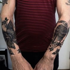 Tribal Butterfly Tattoo Designs Are The Best For Ladies! Crow Tattoo For Men, Bird Tattoo Men, Hand Tattoos For Guys, Bird Tattoos, Black Bird Tattoo, Shin Tattoo, Hawk Tattoo, 1 Tattoo, Eagle Tattoos