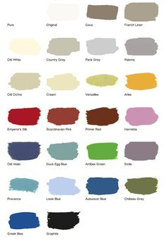 Annie Sloan chalk paint colors. Nice palette. Still looking for a nice, bright coral.