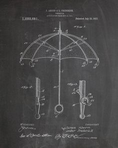 You will love this unique archive print of a 1912 Umbrella patent, presented as a vintage industrial or steampunk style drawing. It is part of our curated collection of the most unique, novel and eleg