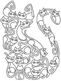 New Embroidery Cat Pattern Transfer Paper Ideas Dog Coloring Page, Coloring Book Pages, Embroidery Leaf, Embroidery Patterns, Paper Embroidery, Pintar Disney, Urban Threads, Cat Quilt, Cat Crafts