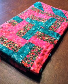Pink and Green Lap Quilt by KellarGirlCreations on Etsy, $55.00
