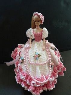 OOAK Doll in a White and Pink Crochet Dress