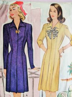 1940s Tailored Dress Pattern McCall 5454 Stylish WW II Era Fitted Dress Bust 34 Vintage Sewing Pattern