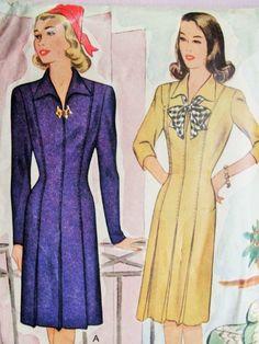 1940s Tailored Dress Pattern McCall 5454 Stylish WW II Era Fitted Dress Bust 34 Vintage Sewing Pattern
