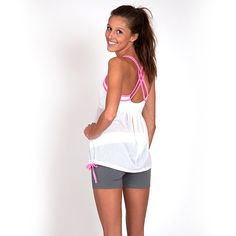 Draw Cord Top, White/Pink