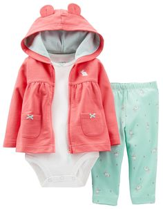 Carters Baby Girls Rabbit Ear Cardigan Set 12 Month Coral