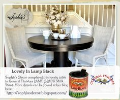 Sophia's Decor, http://sophiasdecor.blogspot.com, redecorated this lovely table with General Finishes Lamp Black Milk Paint.  Gorgeous! We'd love to see your projects made with General Finishes products! Tag us with #GeneralFinishes or share with us through our website or through our facebook page.