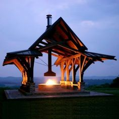 This open pavilion looks like it may just take flight and soar over that scenery. While you're waiting for it to take off, you can warm yourself by the fire and perch on built-in benches.