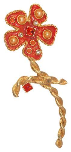 1e2bf3bab 1990's Gerard Yosca Gold-tone Rhinestone Orange Enamel Floral Brooch. Free  shipping and guaranteed