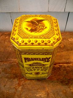 Vintage Coffee Tin - Franklin's Famous Java Coffee - Antique Coffee Tin - Yellow and Brown - Coffee Container - New York via Etsy
