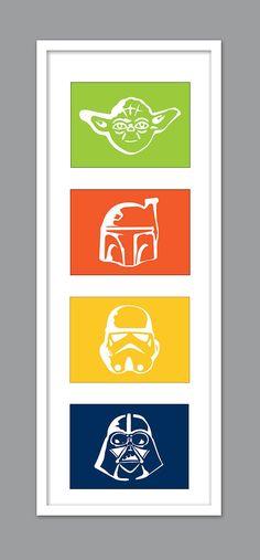4 Star Wars Character Silhouettes for Nursery/Boys Nursery/Darth Vader/Yoda/Stormtrooper - Set of 4 - 5x7s
