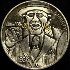 TIM WOLF HOBO NICKEL - VINNIE THE BOOKMAKER - 1936 BUFFALO NICKEL Hobo Nickel, Coin Art, Odd Stuff, Old Coins, Book Making, Art Forms, Sculpture Art, Trains, Buffalo