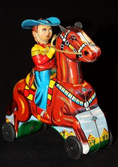 1950s Cowboy on Horse Friction Toy~~